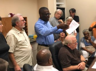 Longtime Clarksdale native, Ray Sykes, explains to the CPU board members that it's the people who can't afford their bills paying the most.